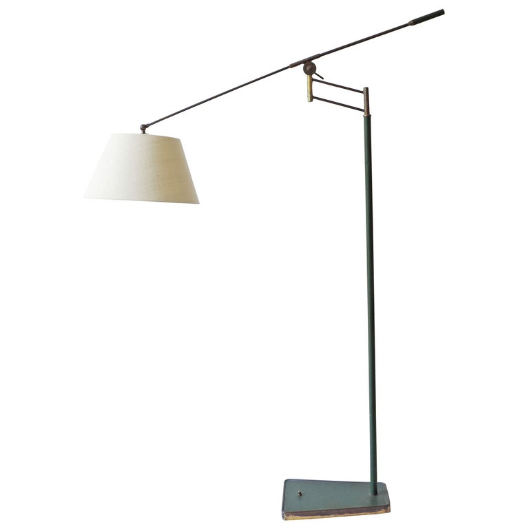 Rare Adjustable Italian Floor Lamp in Brass and Green Faux Leather, 1940s For Sale