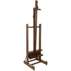 Rare Adjustable Two Ways French Oak Floor Easel with Double Mechanism circa 1900