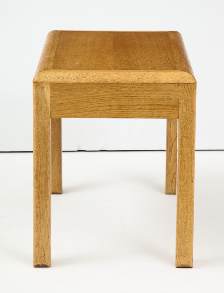 Rare French waxed oak occasional table with a rectangular top by Adolphe Chanaux, circa 1930.