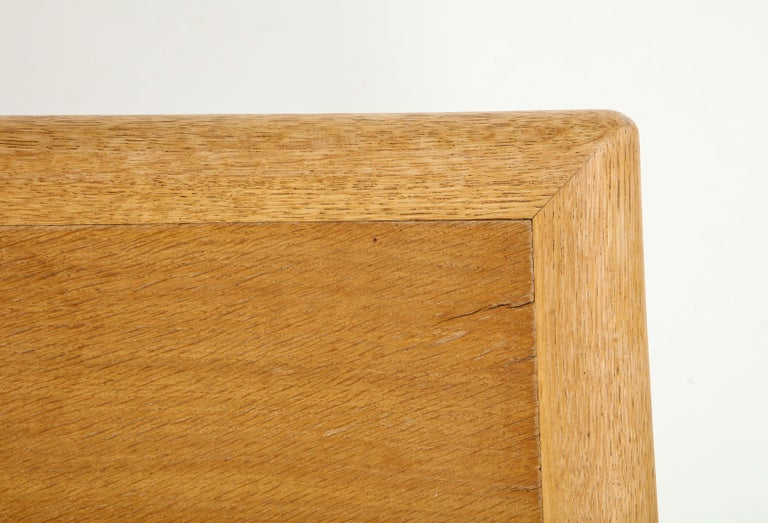French Rare Adolphe Chanaux Waxed Oak Occasional Table For Sale