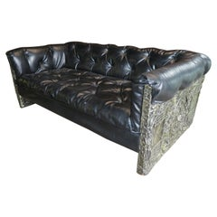 Rare Adrian Pearsall Brutalist Tufted Chesterfield Love Seat Sofa Midcentury