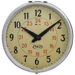 Rare AEG, Emge Industrial, Factory, Station Wall Clock by Peter Behrens