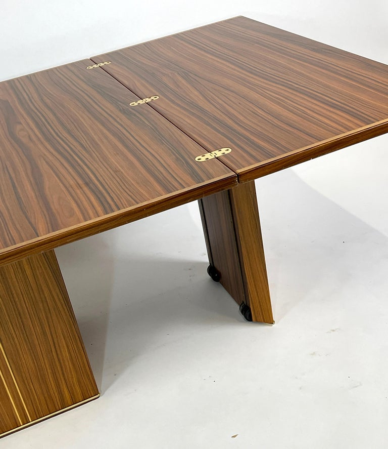 Mid-Century Modern Rare Afra& Tobia Scarpa Convertible Extension Dining Table Artona Series Maxalto For Sale