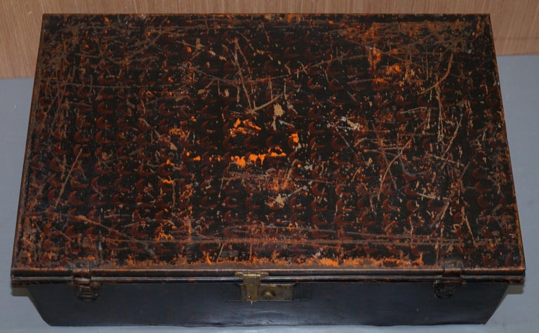 English Rare African Campaign Military Metal Chest Luggage the Owomeji Jones Brothers For Sale