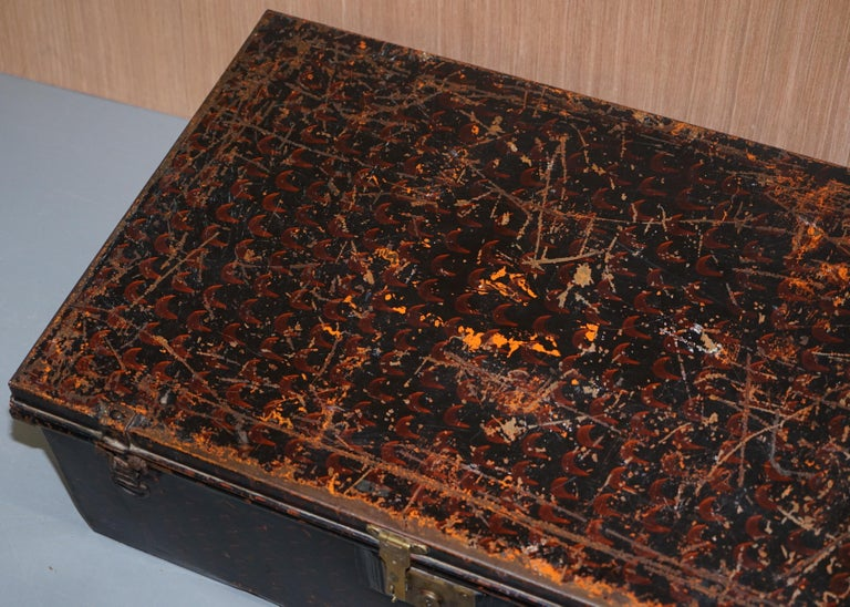 Hand-Crafted Rare African Campaign Military Metal Chest Luggage the Owomeji Jones Brothers For Sale