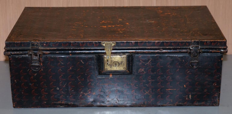 19th Century Rare African Campaign Military Metal Chest Luggage the Owomeji Jones Brothers For Sale