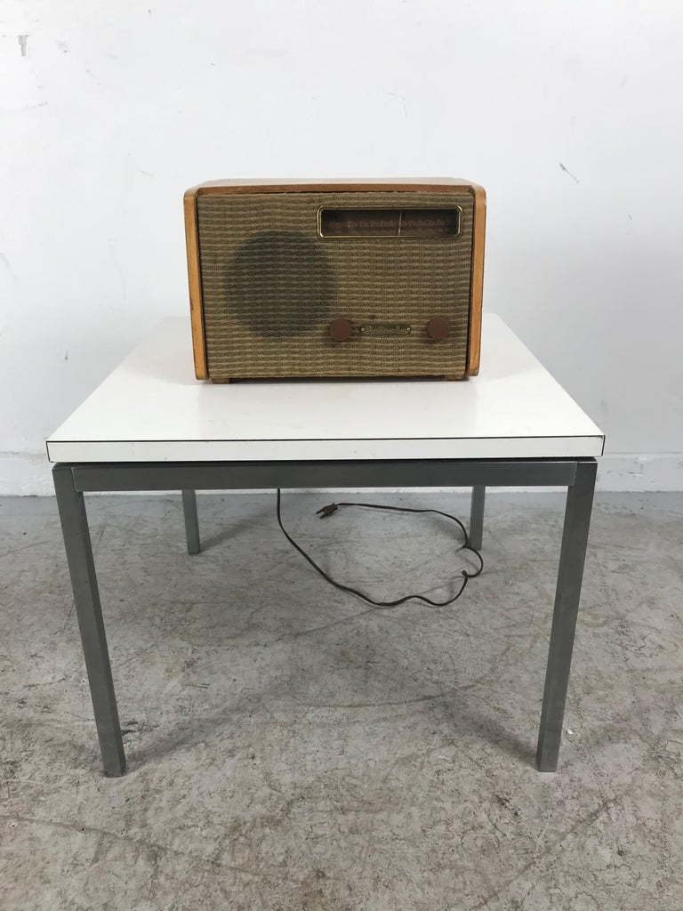Nice original working condition,, replaced back.. Signed with stamped manufacturer's mark to underside: [12132]. USA Medium Design/Decorative Art Manufacturer Detrola Radio  Alexander Girard American, 1907–1993•  A preeminent figure in midcentury
