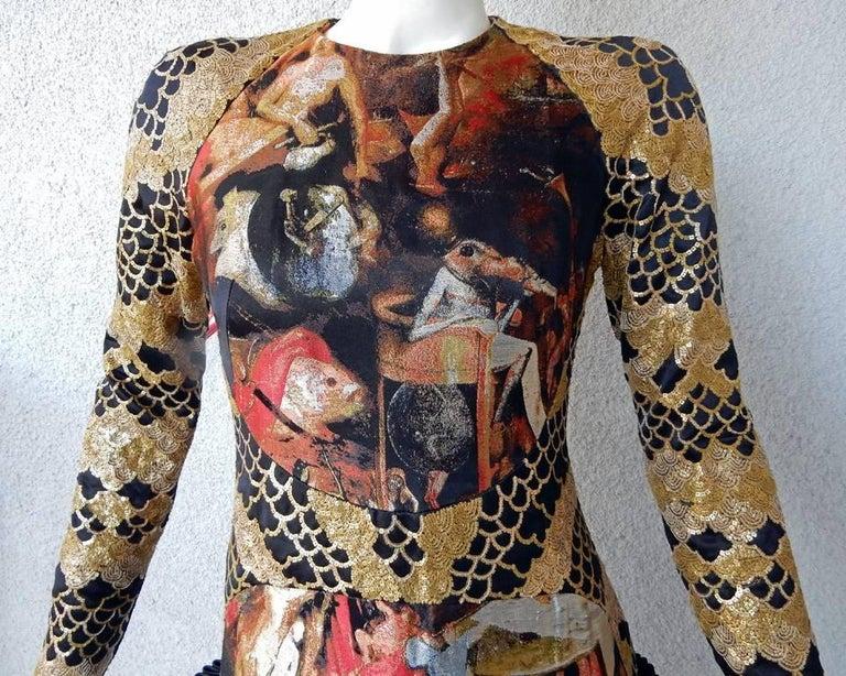 Black Alexander McQueen Angels & Demons Collection Hieronymus Bosch Evening Dress For Sale
