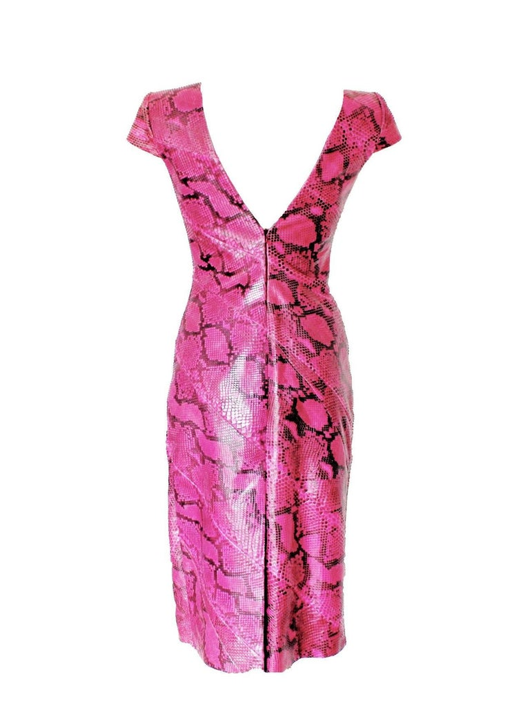 Pink Rare Alexander McQueen Exotic Fitted Dress Tribute to Isabella Blow Spring 2008 For Sale