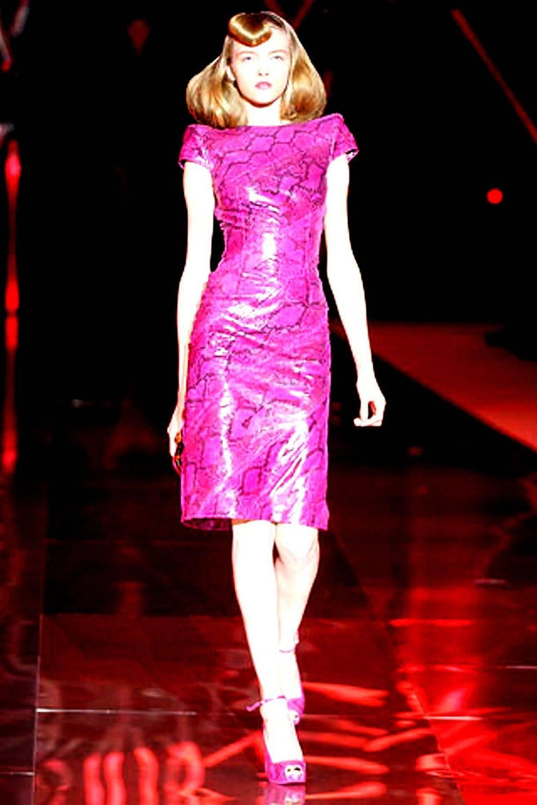 Rare Alexander McQueen Exotic Fitted Dress Tribute to Isabella Blow Spring 2008 For Sale 2
