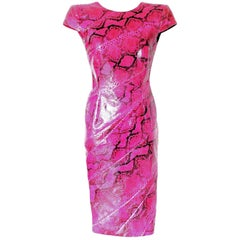 Rare Alexander McQueen Exotic Fitted Evening Dress Tribute to Isabella Blow 2008