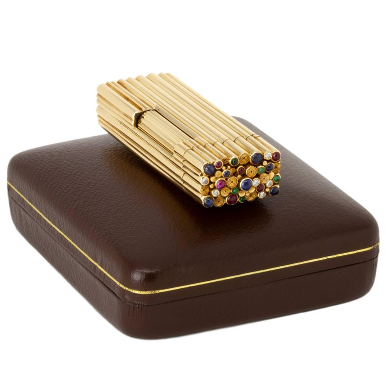 Rare Alfred Dunhill Lighter in Gold with Sapphire, Ruby, Emerald and Diamonds