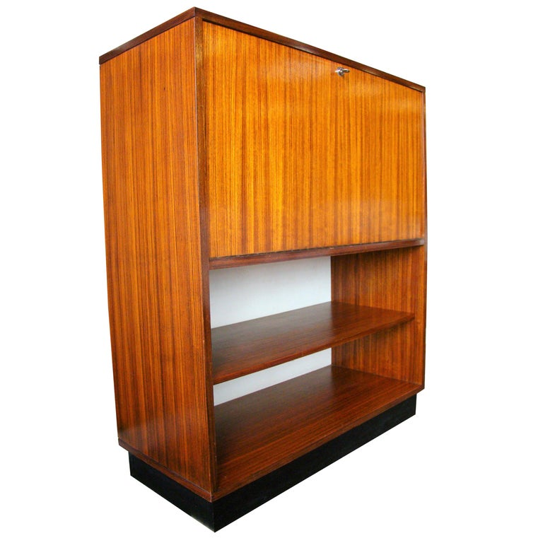 Rare Alfred Hendrickx 'Belgium' Rosewood Drop Front Secretary Desk by Belform For Sale
