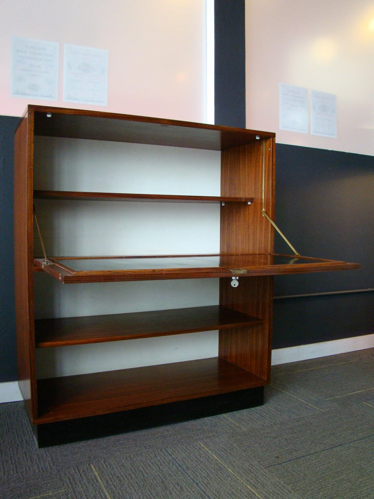 Rare Alfred Hendrickx 'Belgium' Rosewood Drop Front Secretary Desk by Belform For Sale 4