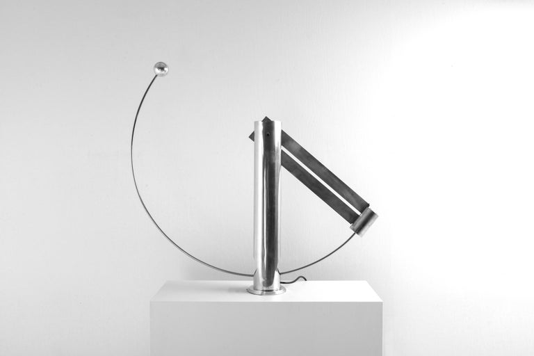 Sculptural floor or table lamp by Pierre Lallemand, Belgium, 1990s Fascinating design in the style of Maria Pergay signed and numbered 2/100 Fully adjustable due to the counterweight balance. A very well designed limited edition piece Probably