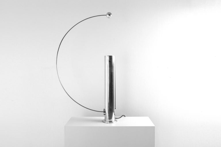 Post-Modern Rare Aluminum Pendulum Lamp by Pierre Lallemand For Sale