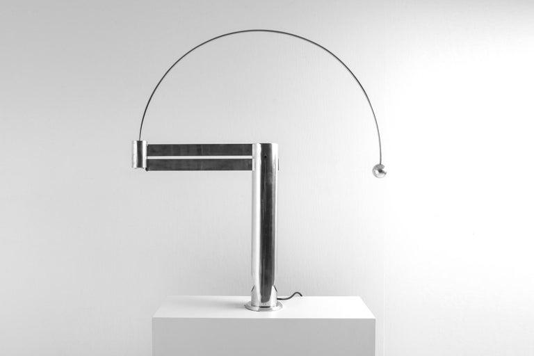 Belgian Rare Aluminum Pendulum Lamp by Pierre Lallemand For Sale