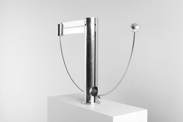 Rare Aluminum Pendulum Lamp by Pierre Lallemand For Sale 1