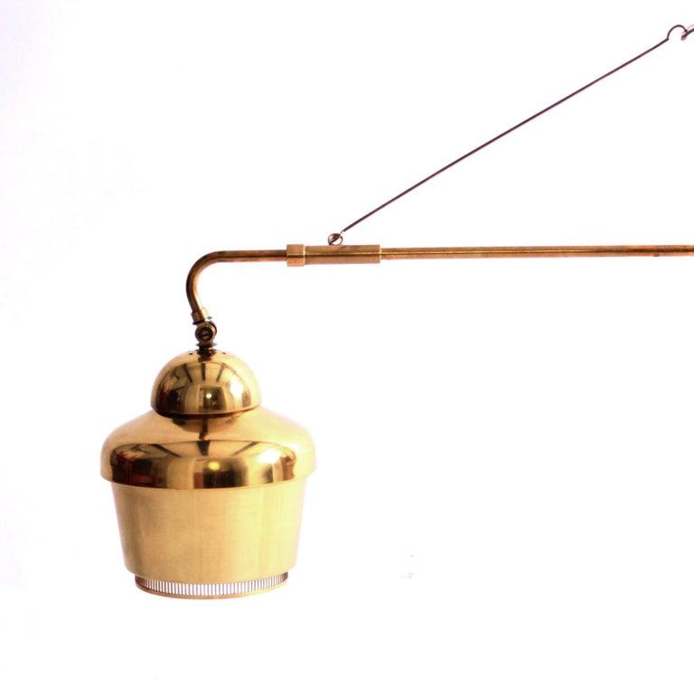 Mid-Century Modern Rare Alvar Aalto Adjustable Wall Lamp in Brass  For Sale