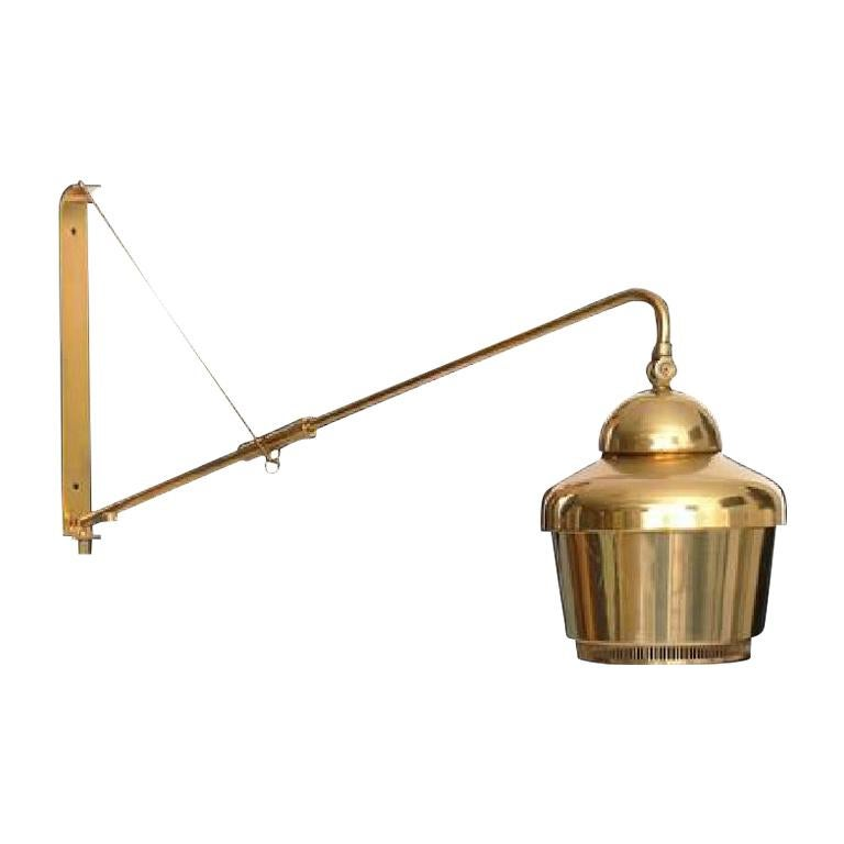 Rare Alvar Aalto Adjustable Wall Lamp in Brass  For Sale