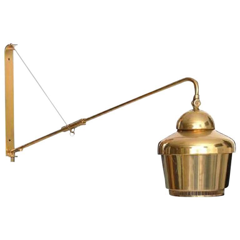 Rare Alvar Aalto Adjustable Wall Lamp in Brass