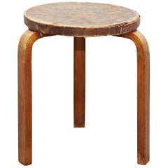 Rare Alvar Aalto Mid-Century Modern Leather and Wood Stool for Artek, circa 1960