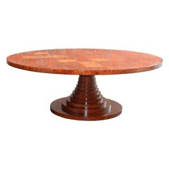 Rare Amboyna Wood Pedestal Table, Italie, circa 1960-1970