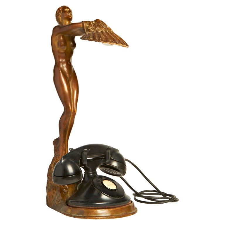 Rare American Art Deco Nude Figural Lamp/Telephone Stand by McClelland Barclay For Sale