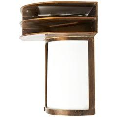 Rare American Art Deco Solid Bronze & Glass Architectural Corner Wall Sconce