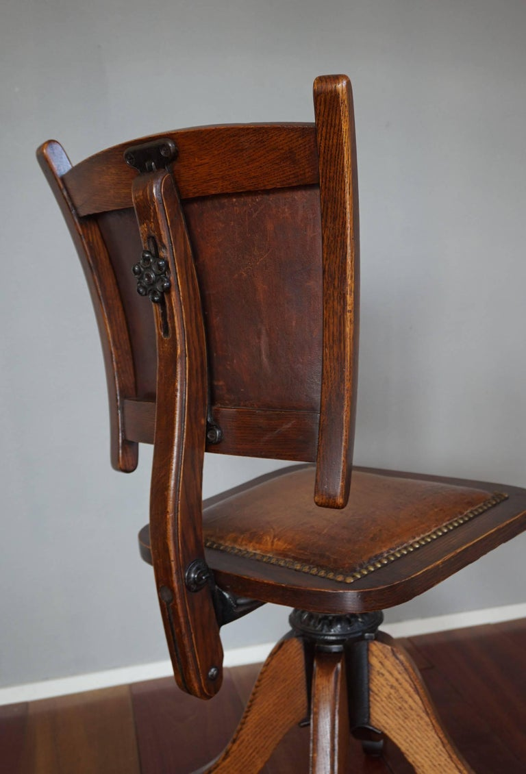 Rare American Arts & Crafts Desk or Drafting Chair by The Davis Chair Company 5