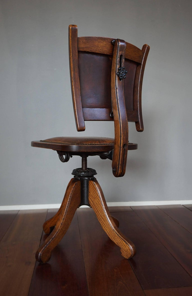 Arts and Crafts Rare American Arts & Crafts Desk or Drafting Chair by The Davis Chair Company