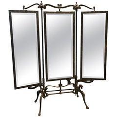 Rare American Folding Triptych Mirror, circa 1900