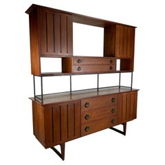 Rare American Modernist Walnut/Iron Credenza, Hutch, Room Divider, Spade Pulls