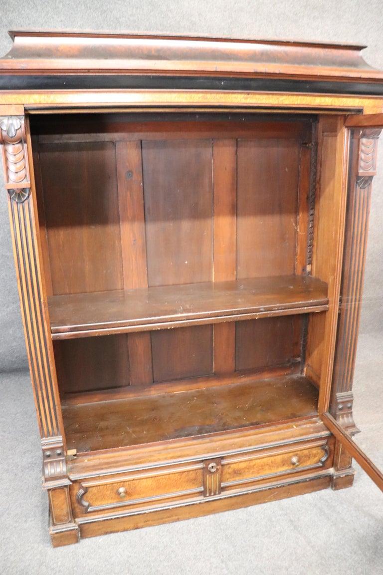 Rare American Victorian Renaissance Revival Burled Walnut Vitrine Bookcase C1870 For Sale 8