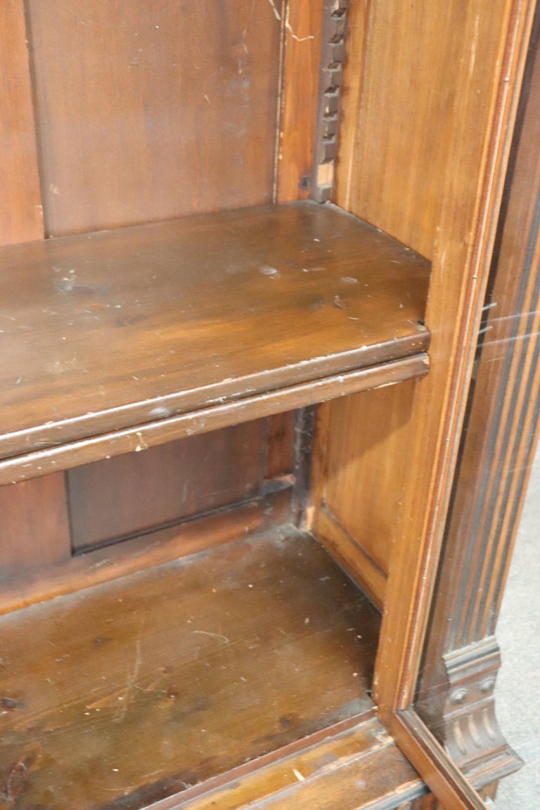 Rare American Victorian Renaissance Revival Burled Walnut Vitrine Bookcase C1870 For Sale 9