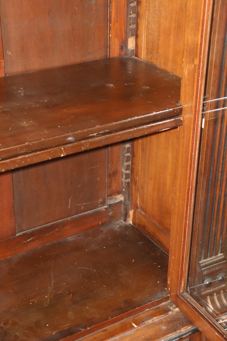 Rare American Victorian Renaissance Revival Burled Walnut Vitrine Bookcase C1870 For Sale 11