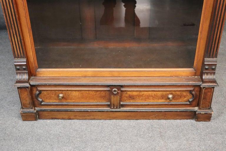 Late 19th Century Rare American Victorian Renaissance Revival Burled Walnut Vitrine Bookcase C1870 For Sale