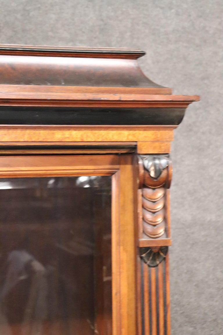 Rare American Victorian Renaissance Revival Burled Walnut Vitrine Bookcase C1870 For Sale 1