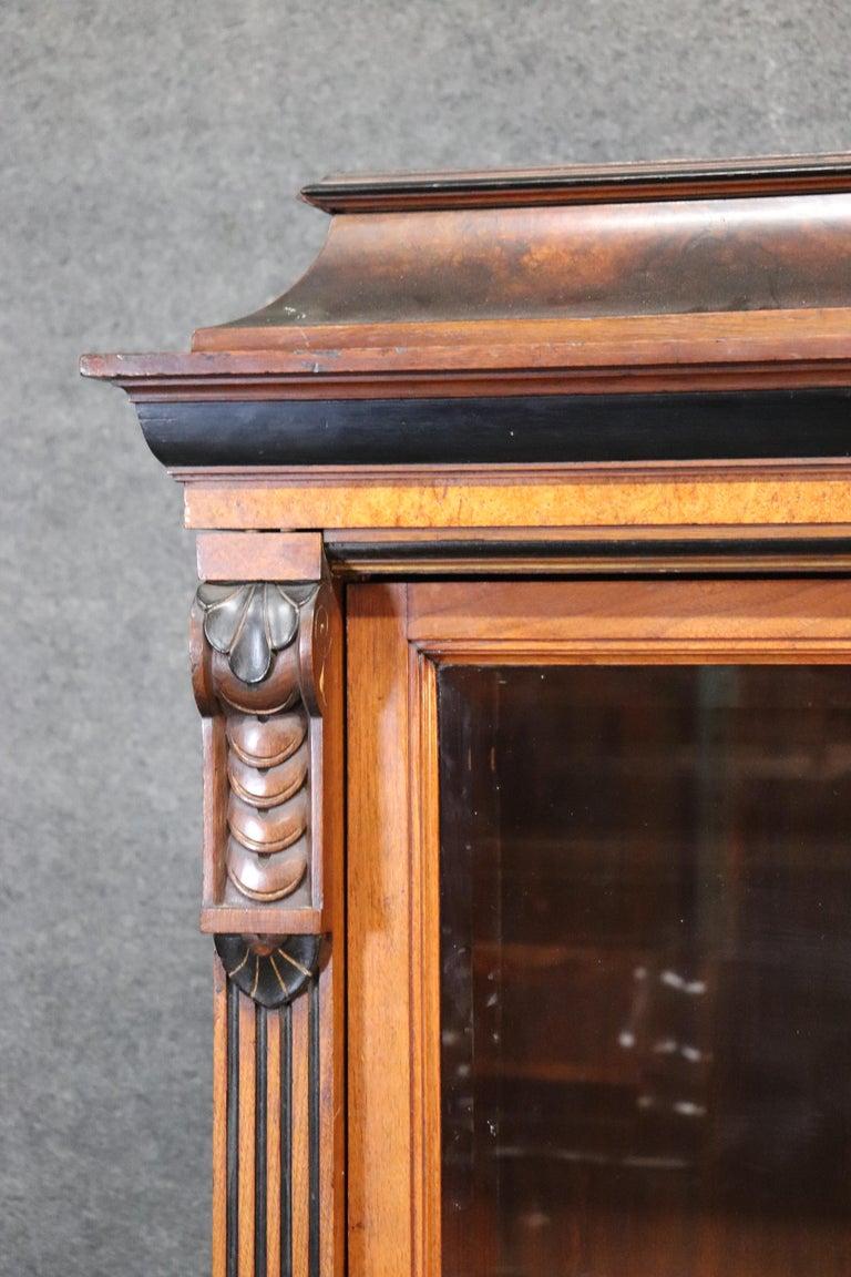 Rare American Victorian Renaissance Revival Burled Walnut Vitrine Bookcase C1870 For Sale 2