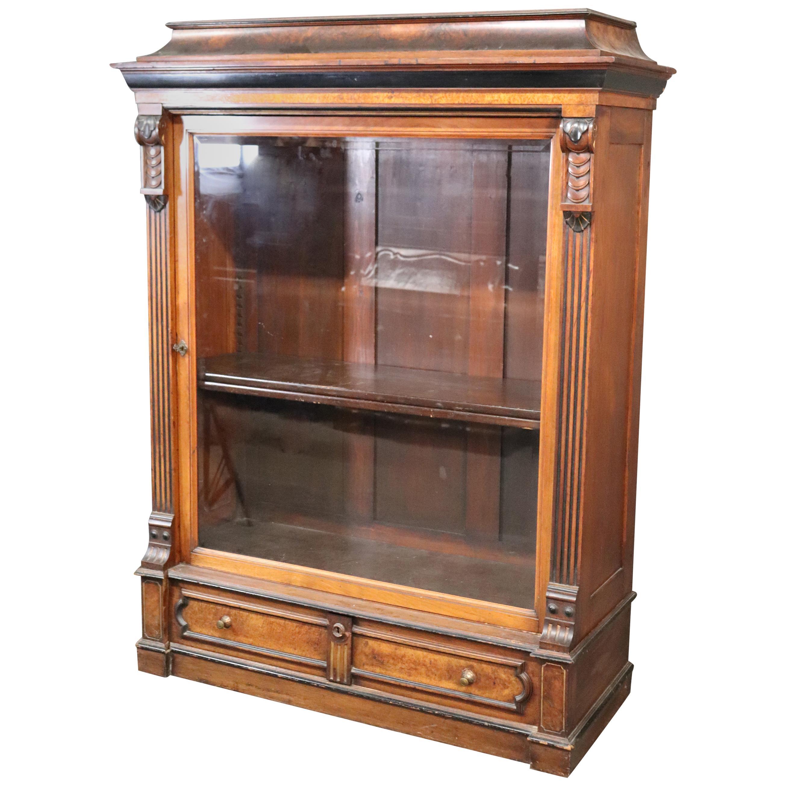 Rare American Victorian Renaissance Revival Burled Walnut Vitrine Bookcase C1870