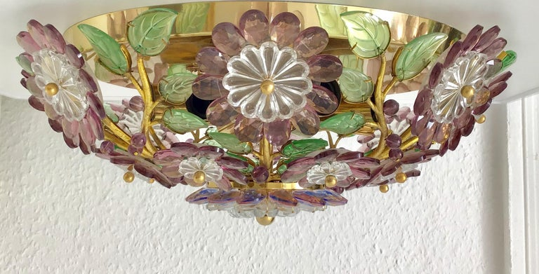 Mid-Century Modern Rare Amethyst Flush Mount in the Style of Maison Baguès, circa 1960s For Sale