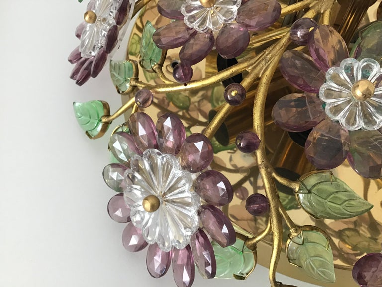 French Rare Amethyst Flush Mount in the Style of Maison Baguès, circa 1960s For Sale