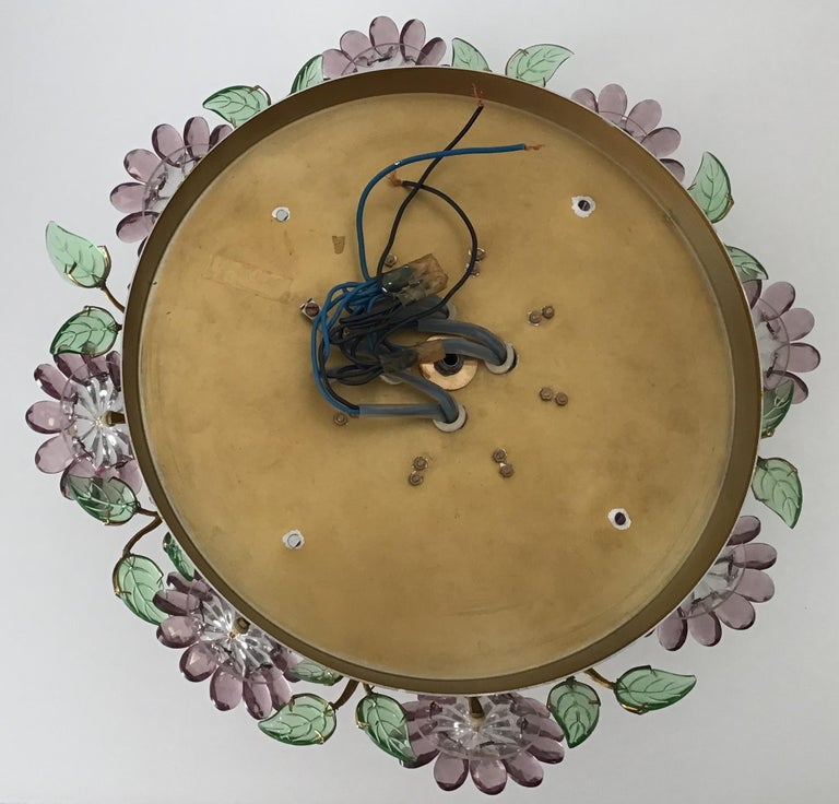 Rare Amethyst Flush Mount in the Style of Maison Baguès, circa 1960s In Excellent Condition For Sale In Wiesbaden, Hessen