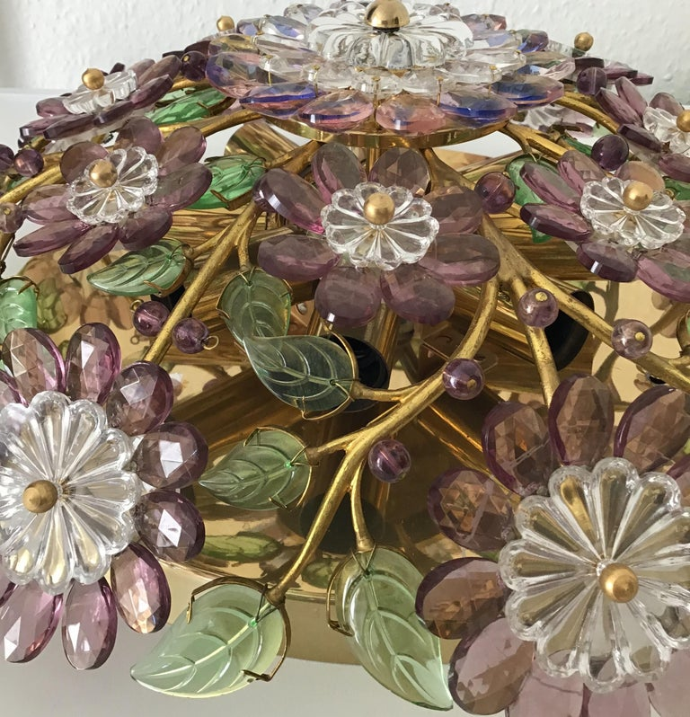 Mid-20th Century Rare Amethyst Flush Mount in the Style of Maison Baguès, circa 1960s For Sale