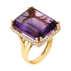 Rare Amethyst White Diamond Yellow Gold Ring