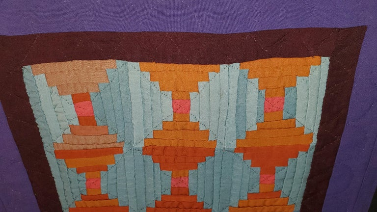 Hand-Crafted Rare Amish Wool Doll Quilt from Pennsylvania