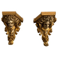 Rare and Antique Pair of Carved Gilt and Silvered Medusa Sculpture Wall Brackets