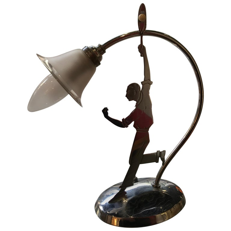 """Rare and Beautiful Table Lamp """"The Tennis Player"""" For Sale"""
