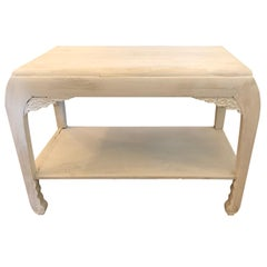 Rare and Chic Chinese Whitewashed Painted Rectangular Low Side Table