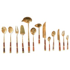 Rare and Complete Tableware Set of 128 Pz Pieces in Brass and Wood, Italy, 1950s